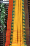 chettinad cotton saree - turmeric & green border