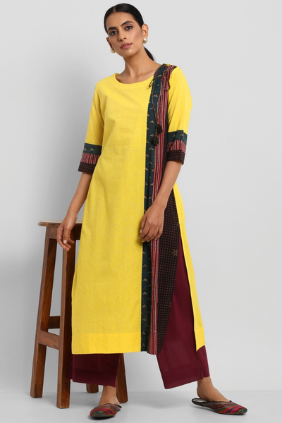 patchwork kurta - neon yellow & stripes