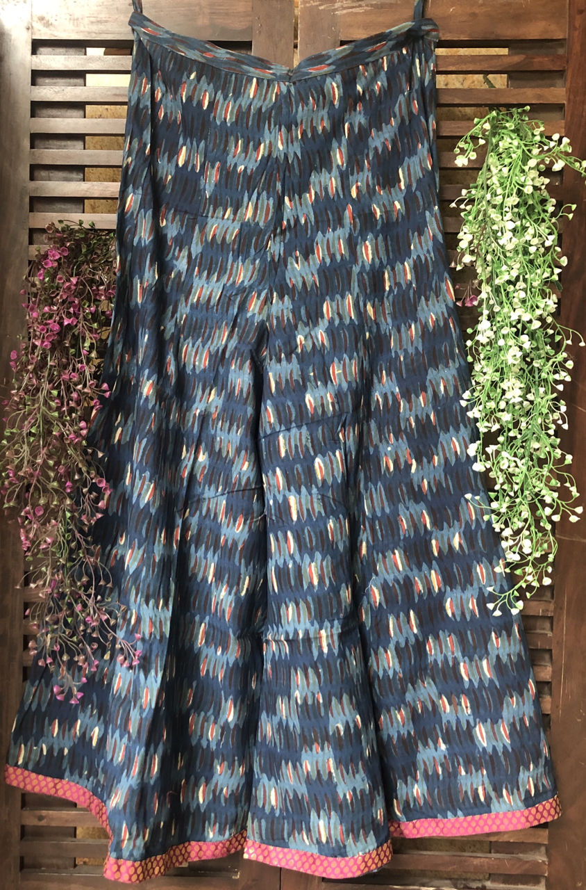 printed sharara - deep indigo & brocade border