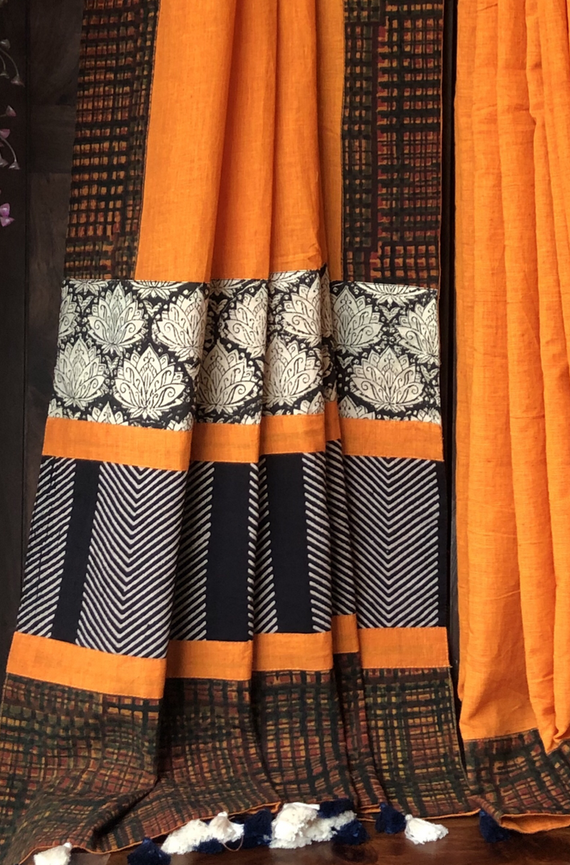 patchwork applique saree - orange & chequered border