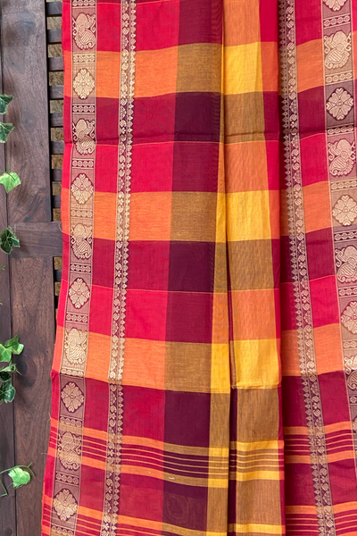 chettinad cotton saree - shades of madder & peacock dance