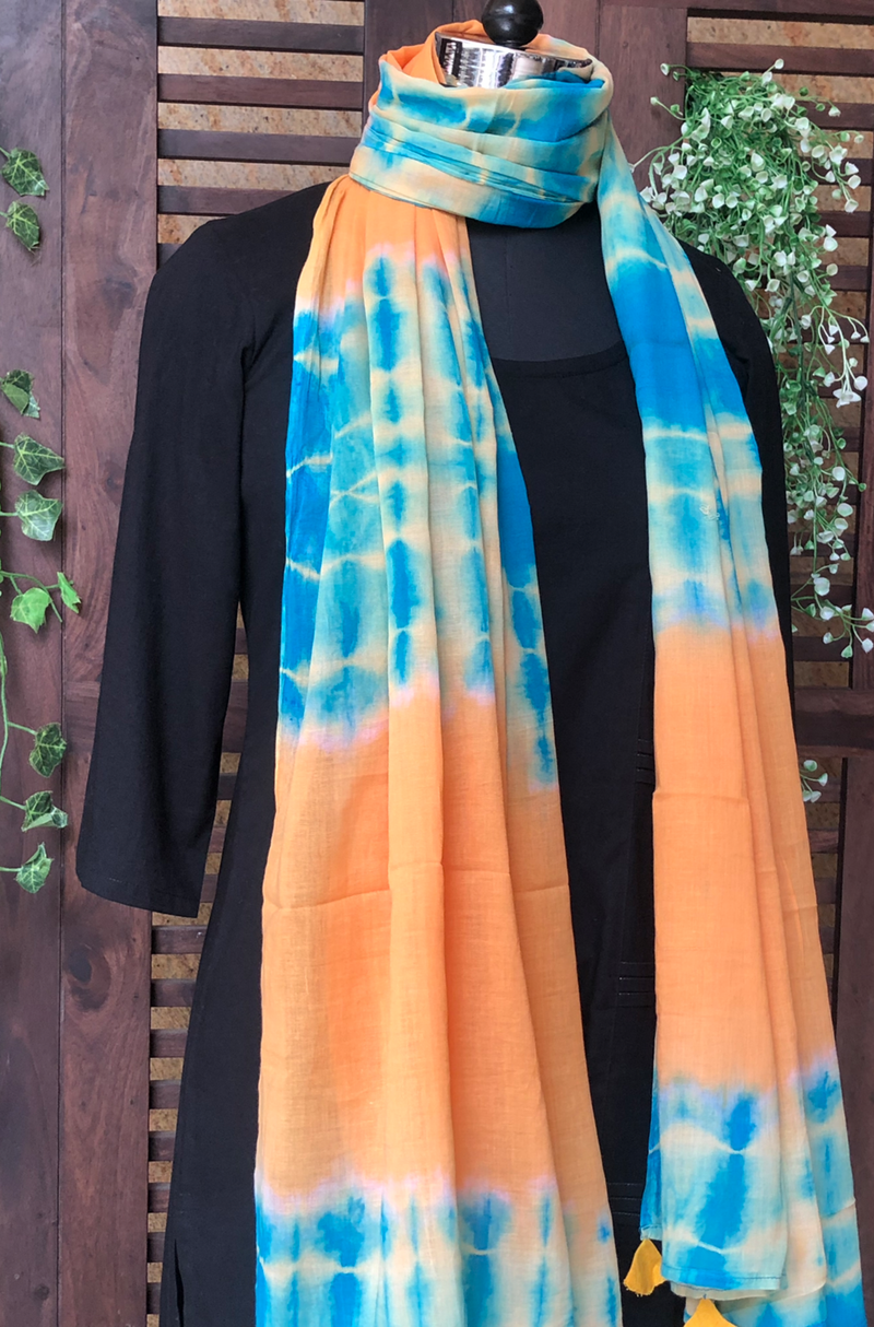 shibori dupatta - yellow & sky blue