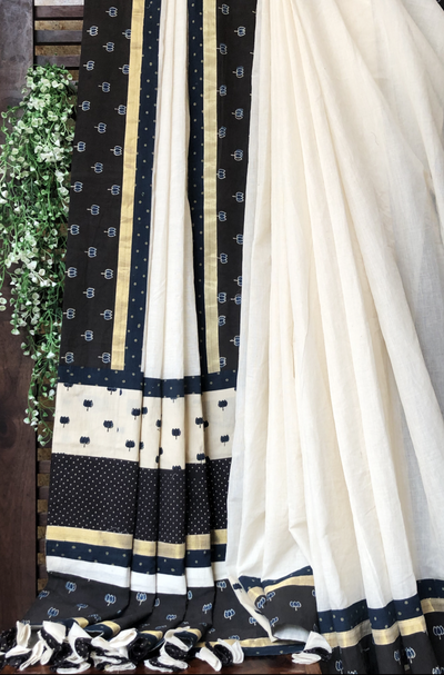 patchwork applique saree - ivory & kamal butti