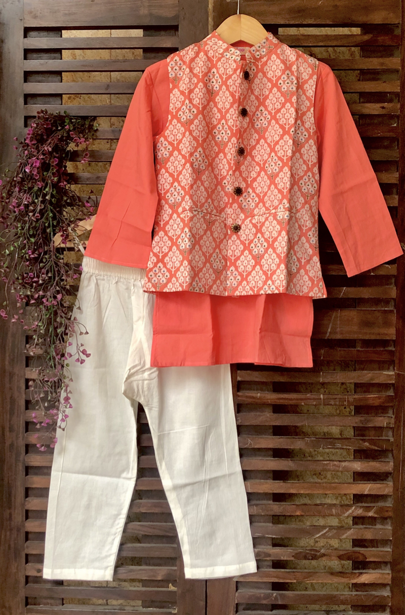 kidswear - peach buti jacket with peach kurta & pajama