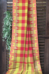 chettinad cotton saree - lime & pink checks
