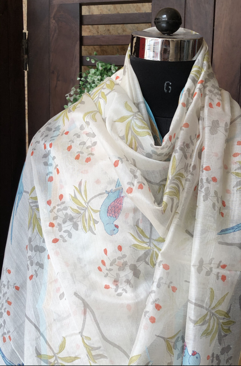 handwoven chanderi dupatta  -  blue skies & parrots