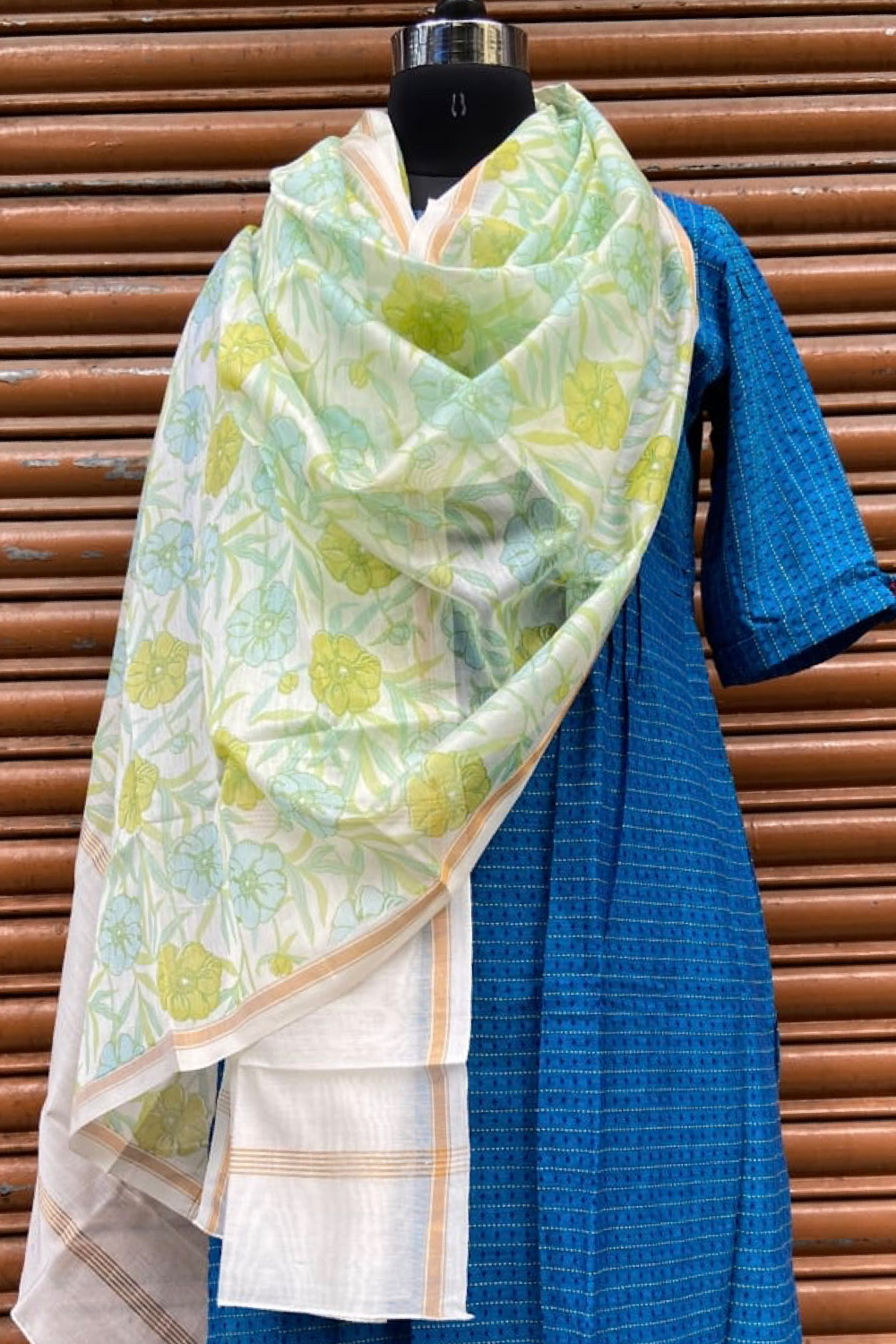 handwoven chanderi dupatta -  meadow's dawn & blue poppy