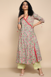 mint green with pink flowers cotton soft mul angrakha anarkali with mint green mul pants