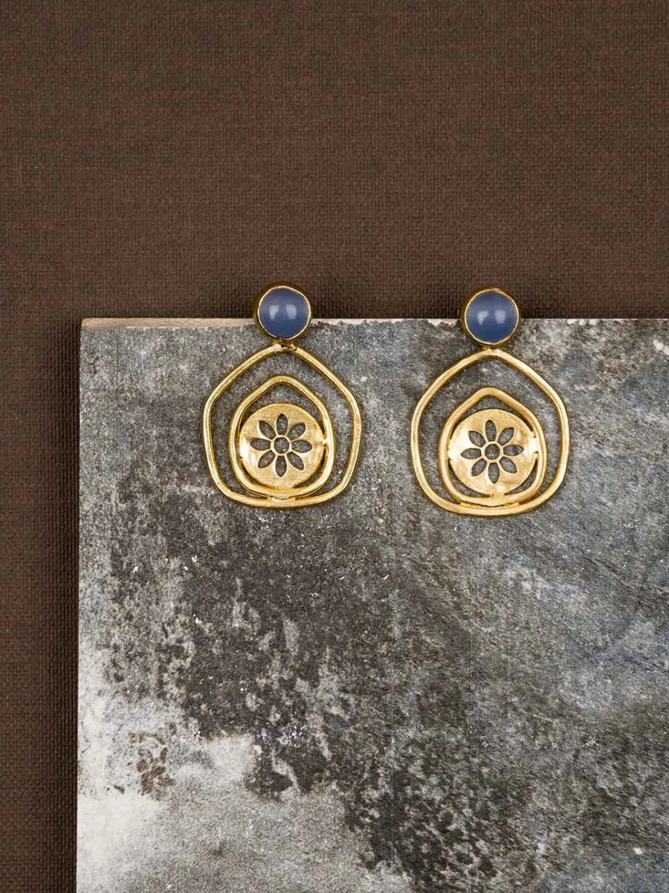 jewelry - berserk - Gold Plated Lapis Pentagon Studs