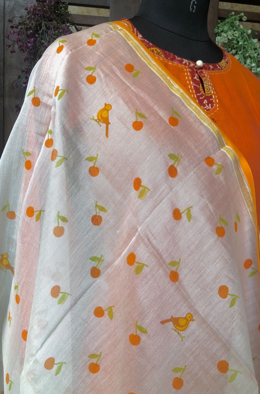 handwoven chanderi dupatta  - orange & chirping birds