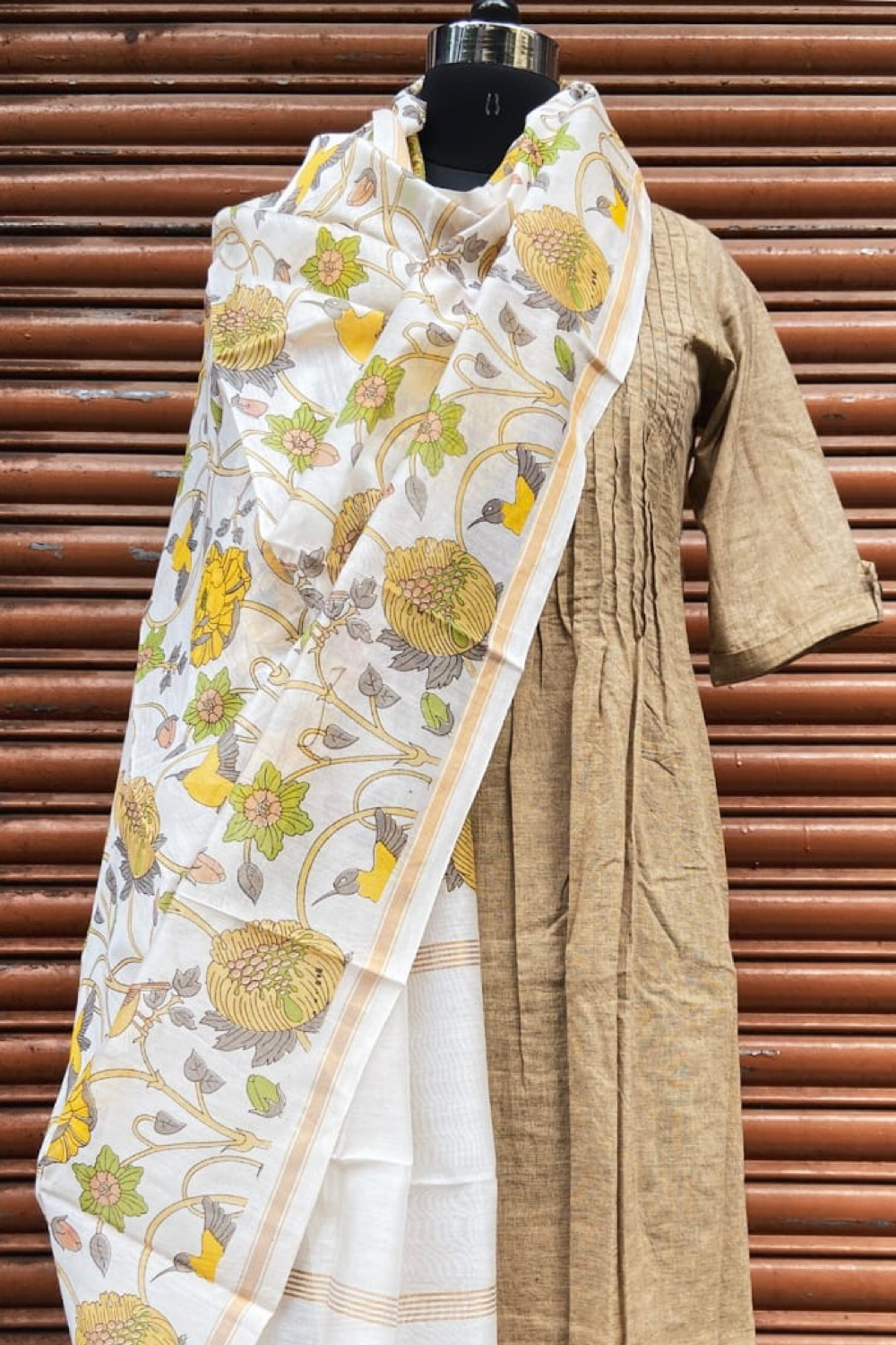 handwoven chanderi dupatta - waterlily & garden of love
