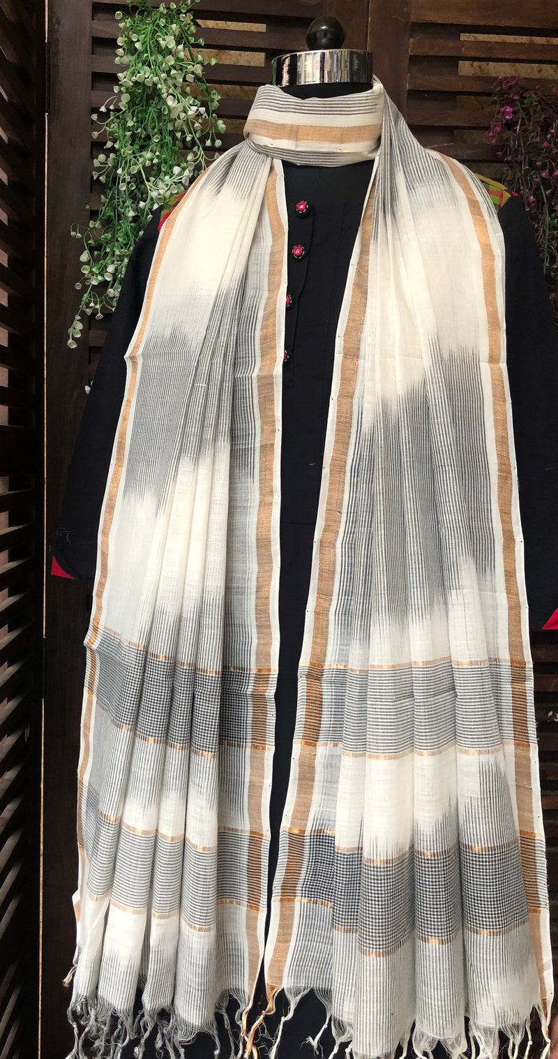 handloom cotton dupatta - pearl river & monochrome lines
