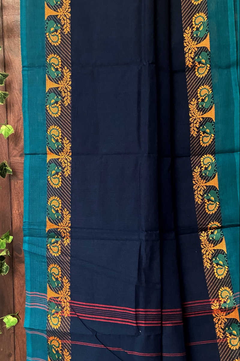 chettinad cotton saree - navy blue & golden forest