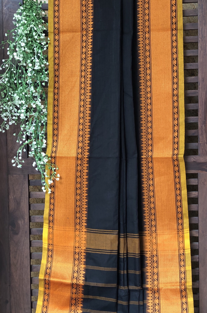 chettinad cotton saree - kohl & gold border