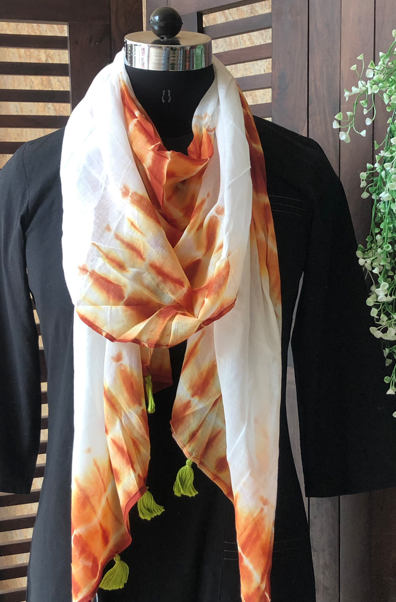 shibori stole - white & brown