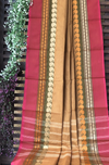 chettinad cotton saree - light oak & paisleys
