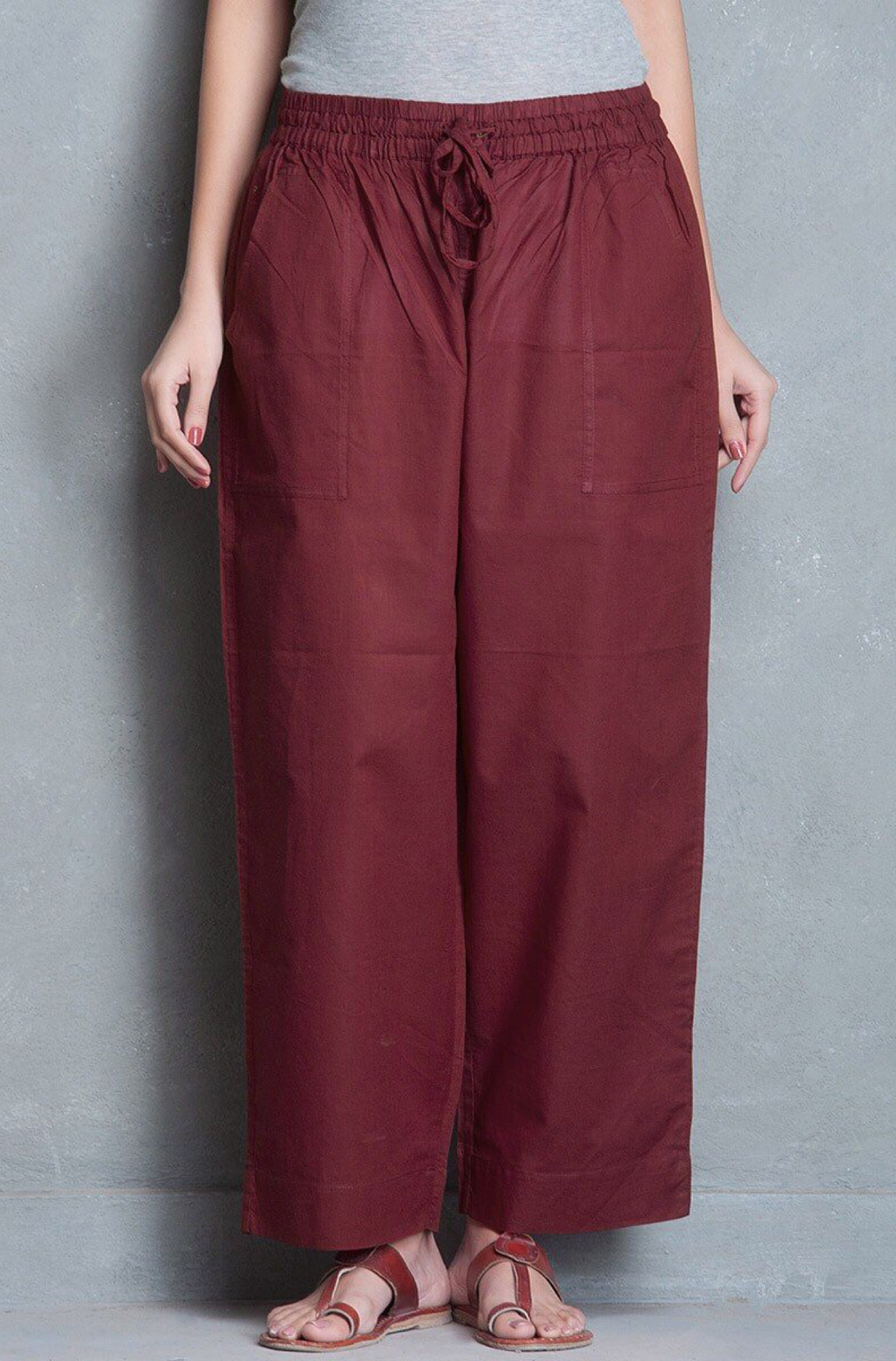 ELASTICATED CAMBRIC PANTS - MAROON