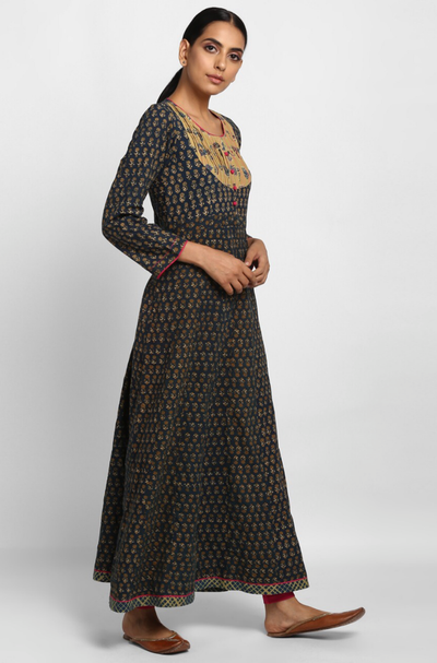 pintuck yoke anarkali - peacock blue & mustard buttis