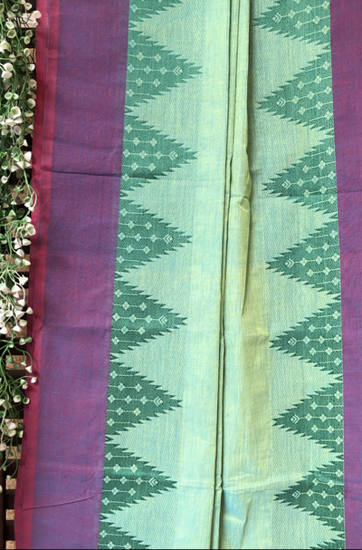 chettinad cotton saree - pista green & temple border
