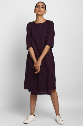 side bias pocket dress - plum & pinstripes