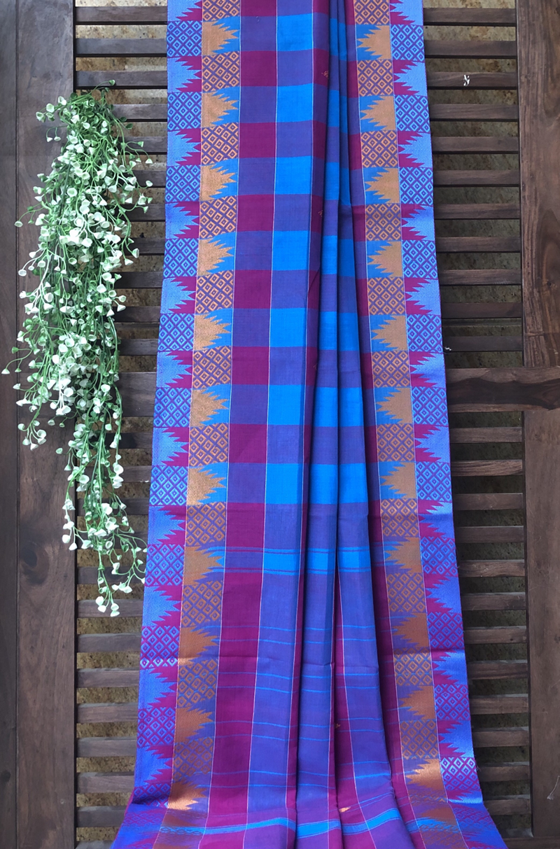 chettinad cotton saree - cobalt & purple checks
