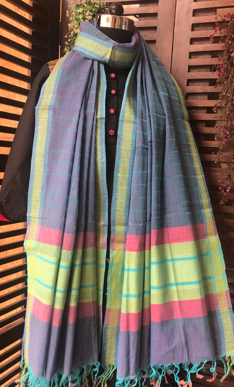 handloom cotton dupatta - purple blue & woven border