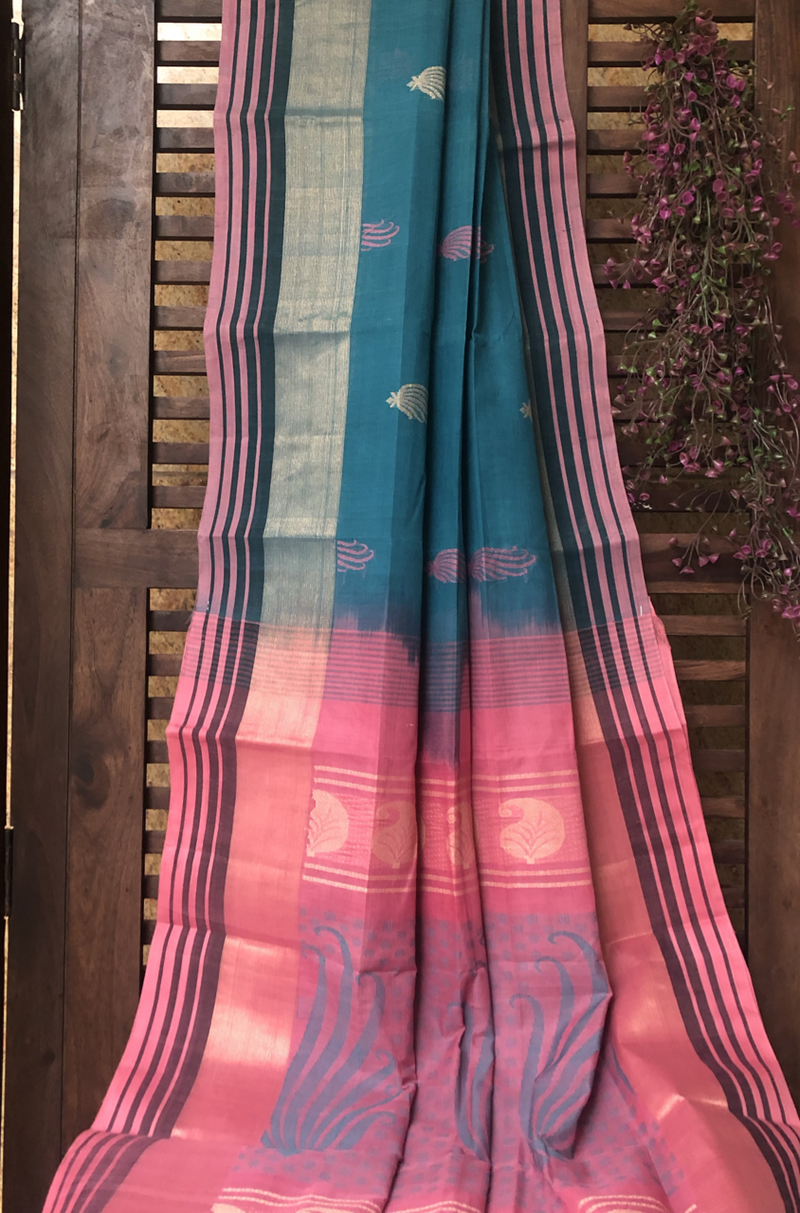 chettinad cotton saree - peacock & pink gold motif