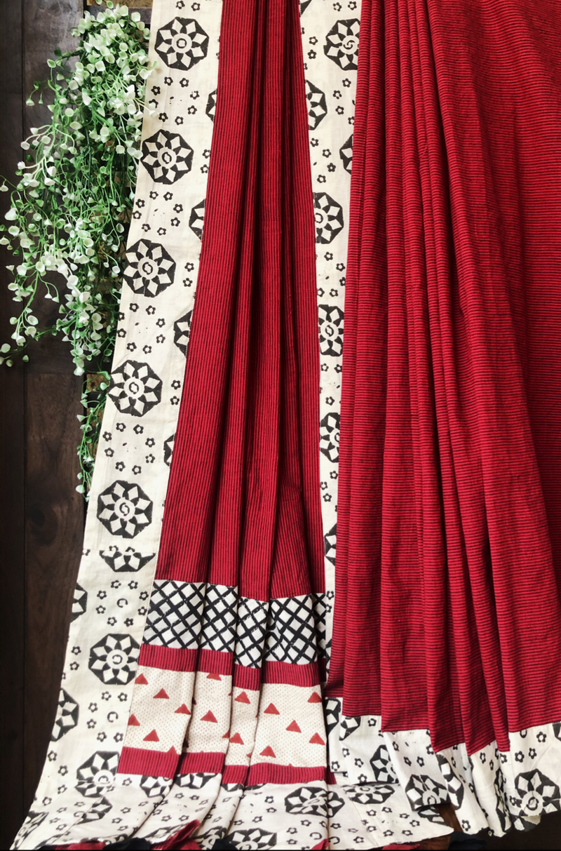 patchwork applique saree - madder stripes & border