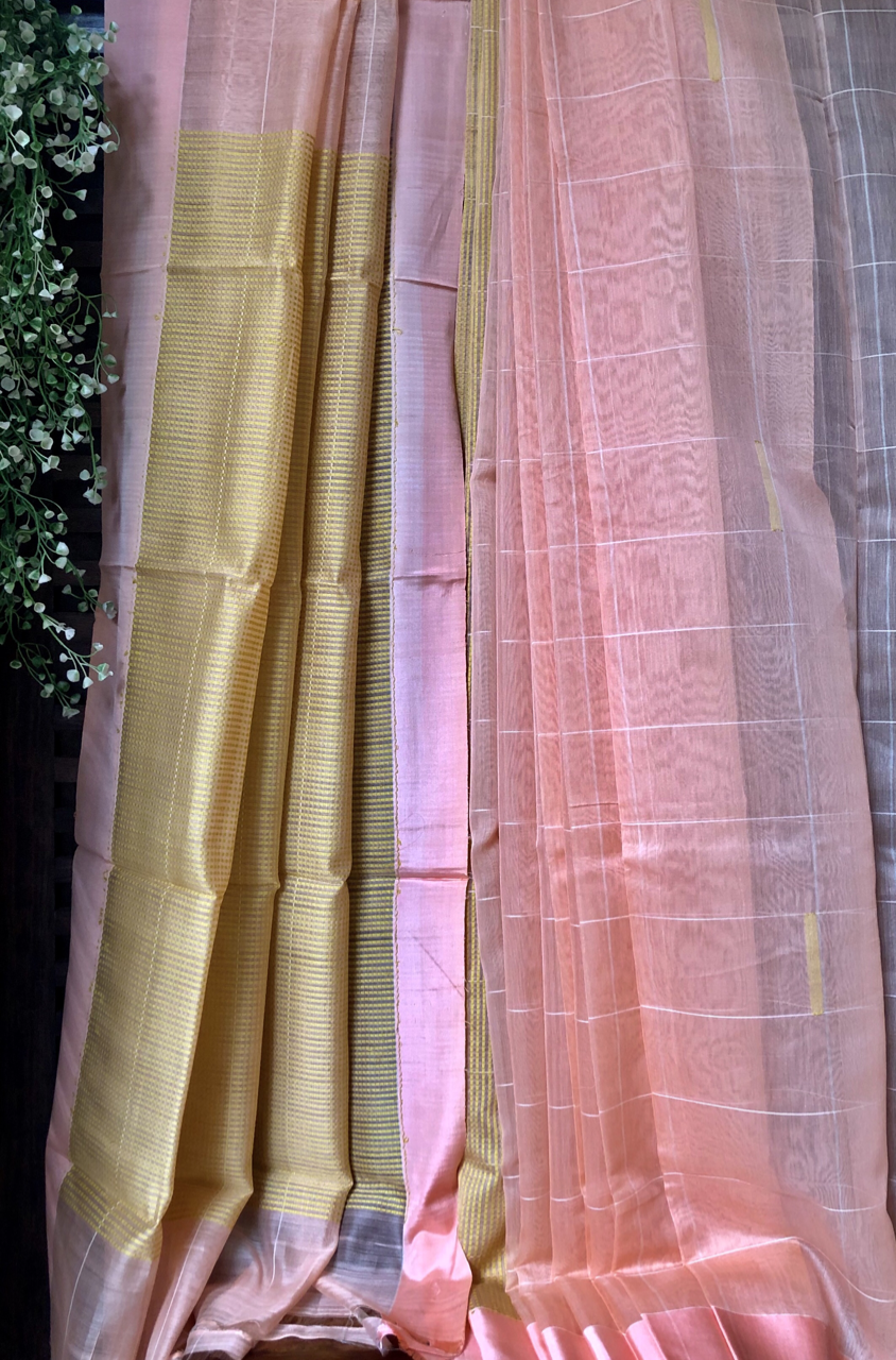 handwoven chanderi saree - whispering peach & chequered love