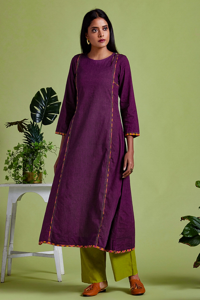 peek-a-boo anarkali - divine plum & many hued checkers