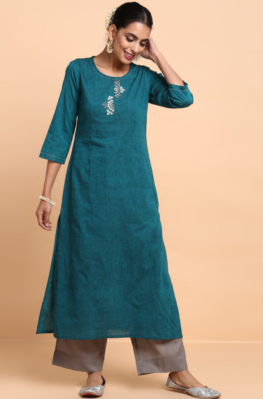 long kurta + pants - rama green & fog grey