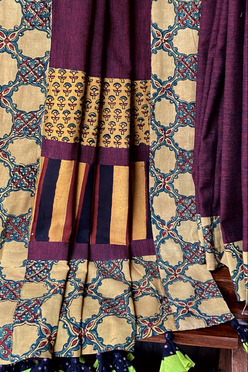 patchwork applique saree - marsala stripes & rhubarb motifs