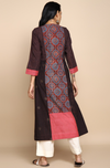 patchwork kurta with pockets - coral pink & rasin