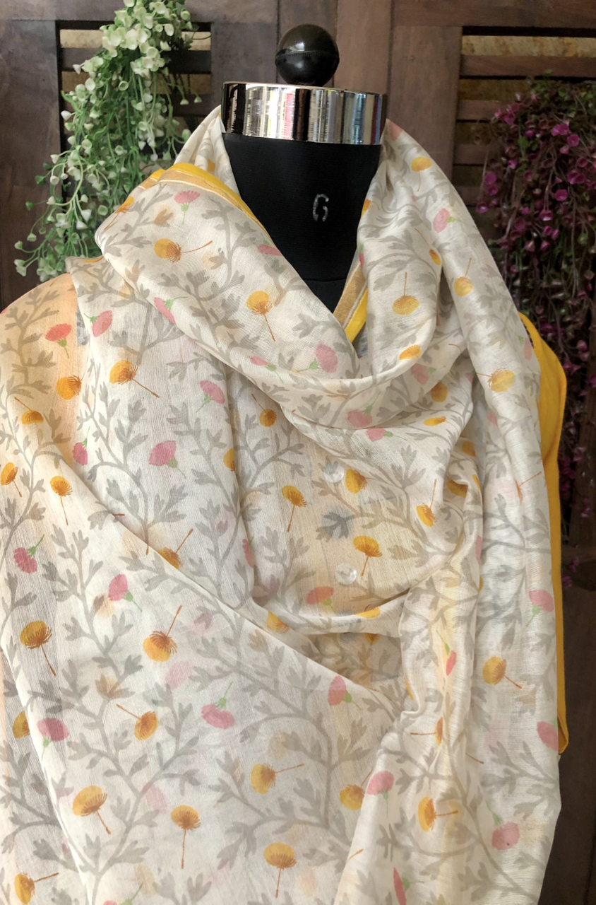 handwoven chanderi dupatta - camellia & dash of grey