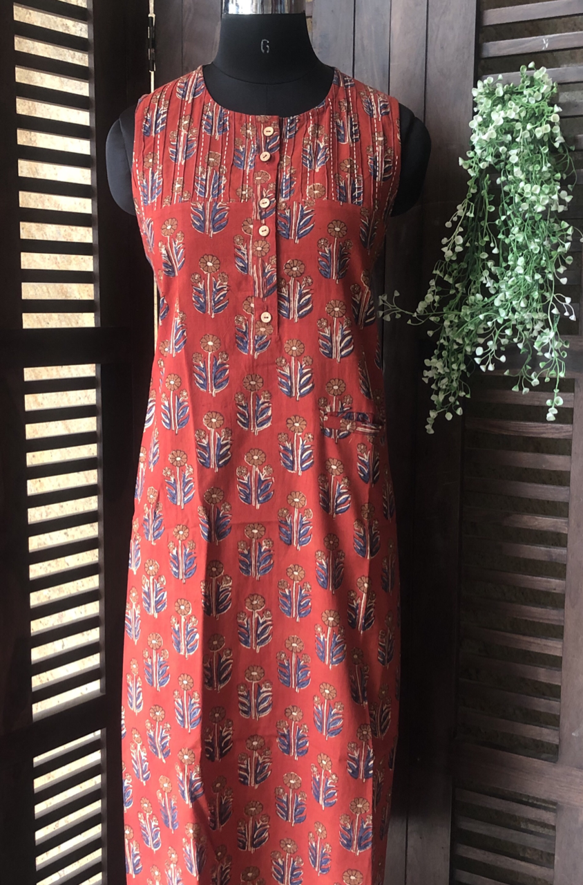 pintucked sleeveless dress - madder & flowers