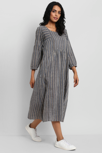gather dress with back button  - slate grey & indigo brown stripes