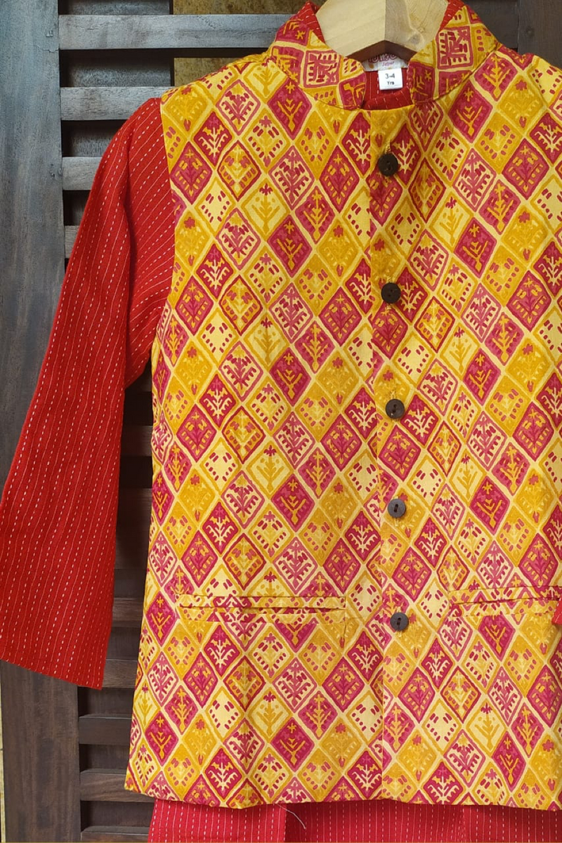 kidswear - red kurta with red yellow jacket & pajama