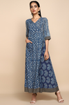 Overlap angrakha dress in Indigo with printed side panel and patch pockets