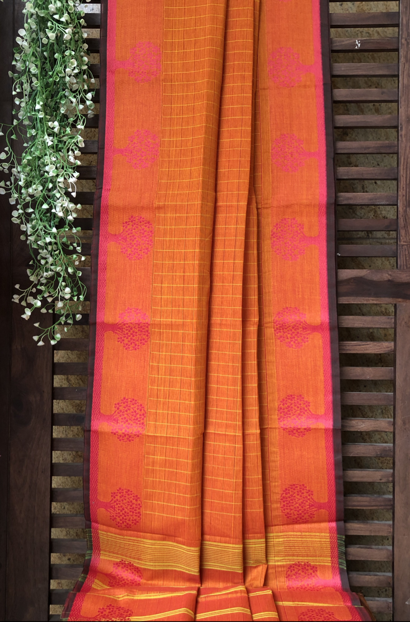 chettinad cotton saree - mandarin checks & tree border