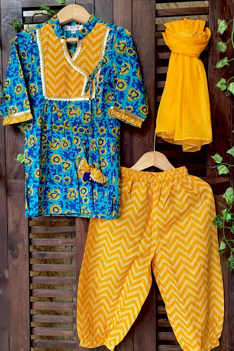 kidswear - YELLOW BLUE KURTI WITH YELLOW AFGHANI SALWAR AND DUPATTA