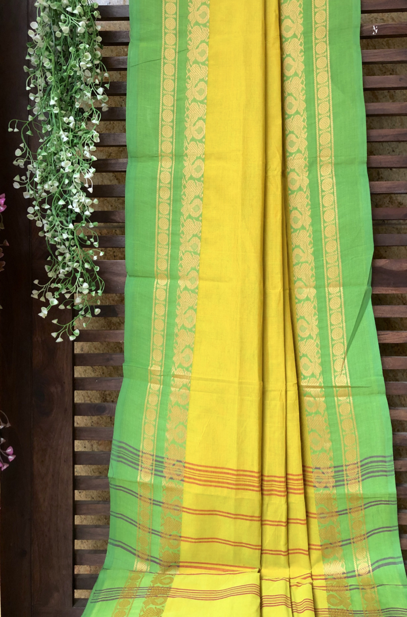 chettinad cotton saree - corn fields & peacock border
