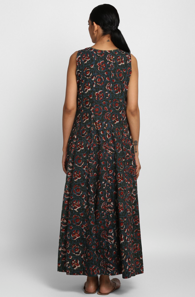 sleeveless maxi dress - ethereal forest & wildflowers