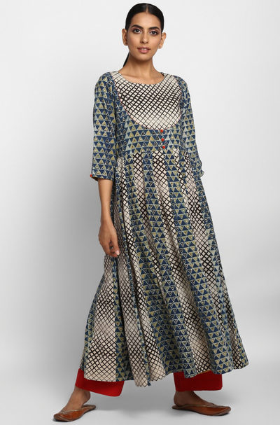 flared anarkali with alternate kalis  - indigo & criss cross
