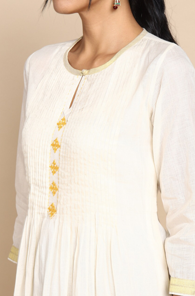 White Kerala Cotton Kurta with inner slip  Pintuck yoke and yellow hand embroidery