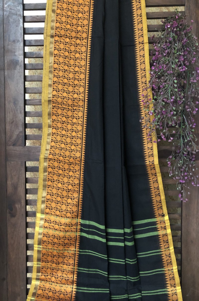 chettinad cotton saree - charcoal & gold peacocks