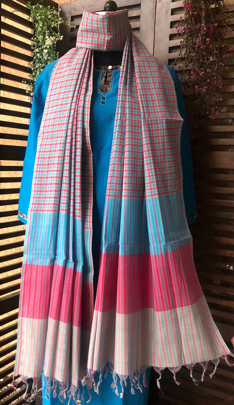 handloom cotton dupatta - azure & shadows of grey