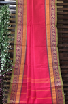 chettinad cotton saree - shocking pink & paisley border