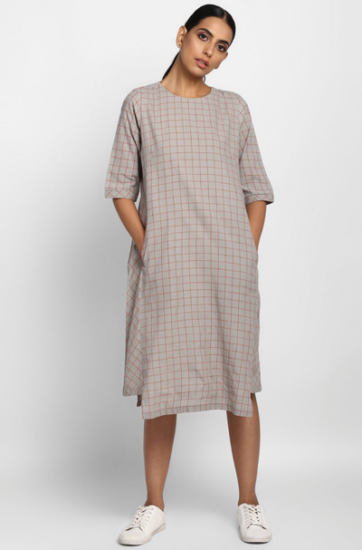 Checks Grey Mangalgiri Dress with Pockets