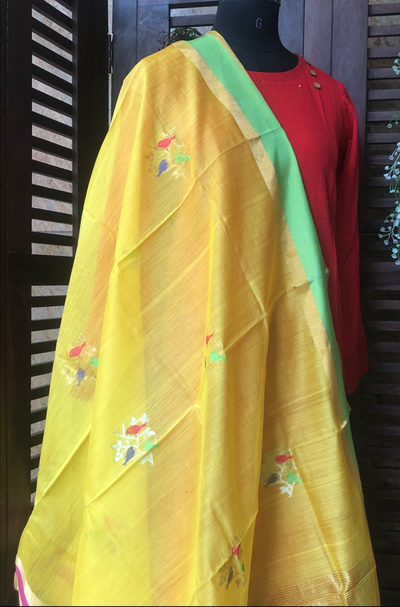 handwoven chanderi dupatta  - gold finch & sparrows