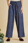 elasticated printed pants - deep indigo & stripes
